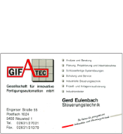 Webcom Marketing - Druckprodukt - Visitenkarte GIFATEC Fertigungsautomation